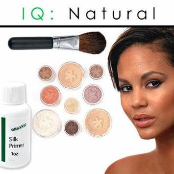 iQ Natural Mineral Makeup Starter Kit – Powder Brush, Silk Primer, Mineral Foundation , Setting Veil , Bisque Concealer, Bronzer + Eye Shadow for Flawless Bare Looking Skin, Full Set (Tan)