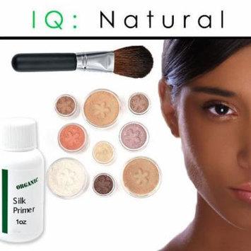 iQ Natural Mineral Makeup Starter Kit – Powder Brush, Silk Primer, Mineral Foundation , Setting Veil , Bisque Concealer, Bronzer + Eye Shadow for Flawless Bare Looking Skin, Full Set (Dark Tan)