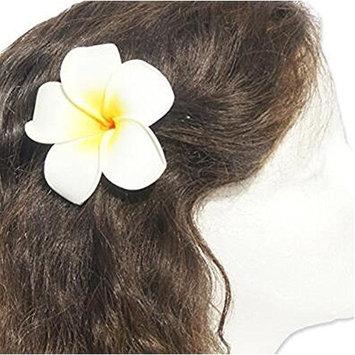 3PCS 2.95'' Women's Fashion Hawaiian White Plumeria Flower Hair Clip Balaclavas for Beach (White)