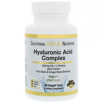 California Gold Nutrition, Hyaluronic Acid, with L-Proline + French Pine Bark & Grape Seed Extracts, 100 mg, 60 Veggie Caps