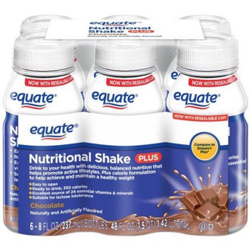 Wal-mart Stores, Inc. Equate Chocolate Nutritional Shake Plus, 8 fl oz, 6 count