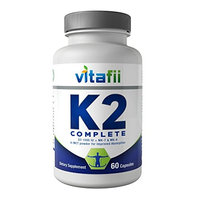 Vitafii Vitamin K2 (MK4 and MK7) With D3 - Maximum Absorption Vitamin D And K Supplement - Promotes Strong Bones And Heart Health - Includes MCT Powder
