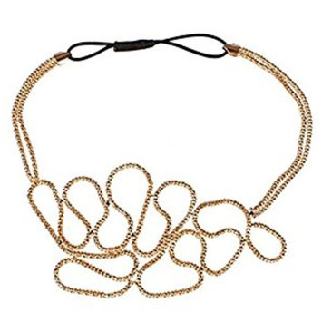 RuiChy Fashion Women Hollow Out Flower Elastic Headband Gold Knitted Hair Band