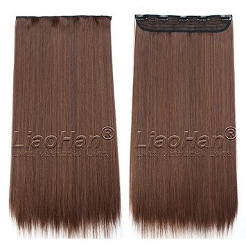 Straight Long Clip in Light Brown Hair Extensions 3/4 Full Head Synthetic Hair Clip in on Brown Hairpieces