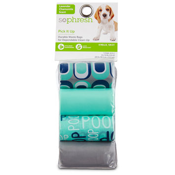 So Phresh Pick It Up Print & Scented Dog Waste Bags, Teal, 120 count