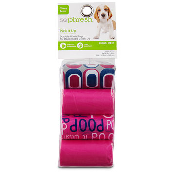 So Phresh Pick It Up Print & Scented Dog Waste Bags, Pink, 120 count