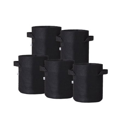Hydro Crunch 8 in. x 6 in. 1 gal. Breathable Fabric Pot Bags with Handles Black Felt Grow Pot (5-Pack)