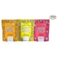 Fruity Ginger Candy Chew Assortment (3-Pack)- (3) Gem Gem 5oz Bags - ORANGE, LEMON & MANGO | Non-GMO, Gluten Free, Vegan, REAL Indonesian Kettle Cooked Ginger - The perfect chewy sweet with a kick!
