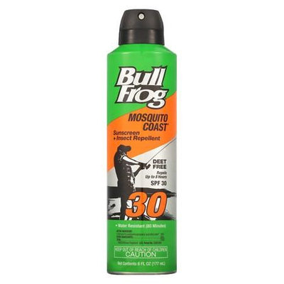 Bull Frog Mosquito Coast Continuous Spray Sunblock with Insect Repellent, SPF 30 6.0 oz.(pack of 6)