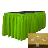 LA Linen SKT-Pop-21x29-15Lclips-LimeP84 Polyester Poplin Table Skirt with 15 L-Clips, Lime - 21 ft. x 29 in.