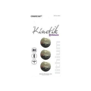 Kinetik 88134 Lithium Batteries, CR2032, 3-Pack