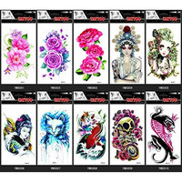 GGSELL GGSELL 10pcs temp fake tattoo stickers in 1 package,it including ,various colorful roses,peony,lovely baby,women,cat,fish,skull,animal,etc.