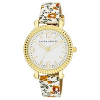 Laura Ashley Ladies White Floral Band Fluted Bezel Watch