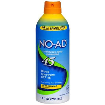 NO-AD Continuous Spray Sunscreen, SPF 45 10.0 oz.(pack of 3)