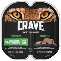 Mars Petcare Crave Grain Free High Protein Turkey Pate Wet Cat Food Trays (1 Twin Pack, 2.6 oz)