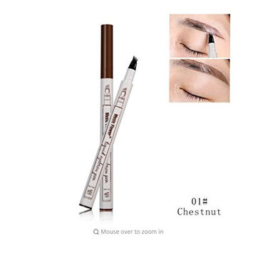 Tattoo Eyebrow Pen with Four Tips Long-lasting Waterproof Brow Gel and Tint Dye Cream for Eyes Makeup Color Chestnut