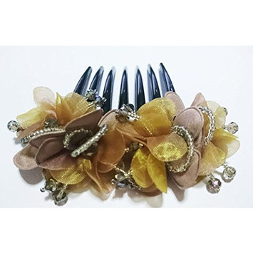 French twist hair comb Ornamented along the top of the heading with Flowers Gold fabric two tone