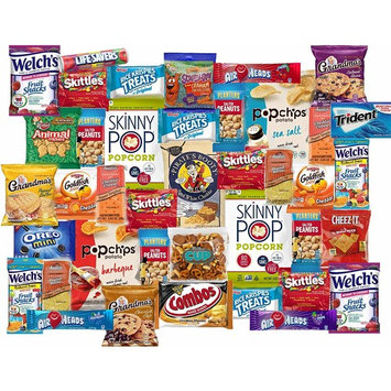 40 Count College Snack Pack - Individually Wrapped Single Serve Goodies - Assortment of Candy, Cookies, Chips, Popcorn, Peanuts, Gum, By The...