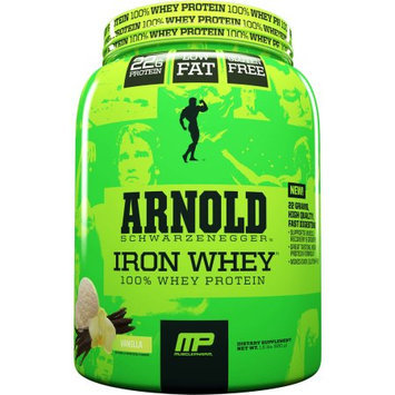 Arnold Iron MusclePharm Arnold Schwarzenegger Iron Whey 100% Whey Protein Vanilla Dietary Supplement, 1.5 lbs