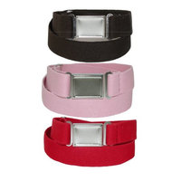 CTM® Kids Magnetic Buckle Adjustable Stretch Belt (Pack of 3 Colors), Brown Pink and Red