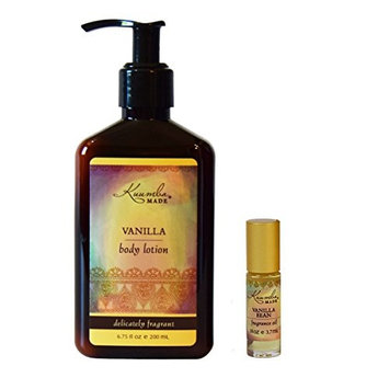 Kuumba Made Fragrance Gift Set, One Vanilla Bean 1/8oz Fragrance oil with roll on applicator and One Vanilla Lotion 6oz