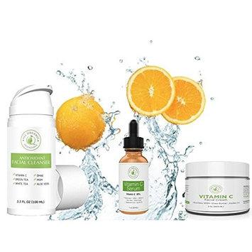 Anti Aging Skincare Set, Face Wash, Antioxidant Face Toner, Vitamin C Serum, Face Cream - Free Cosmetic Bag with purchase