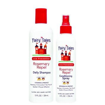 Fairy Tales Rosemary Repel Daily Kid Shampoo (12 oz) & Conditioning Spray (8 oz) Duo for Lice Prevention