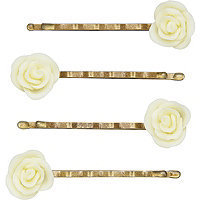 The Vintage Cosmetic Company Small Cream Flower Bobby Pins