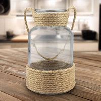 Stonebriar Glass Container with Rope Handle, Brown