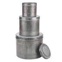 Stonebriar Collection Galvanized Metal Round Storage Box 3-piece Set, Silver