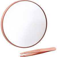 Tweezerman Rose Gold 10X Magnifying Mirror & Mini Slant Tweezer