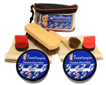FeetPeople Ultimate Leather Care Kit with Travel Bag, Black & Brown