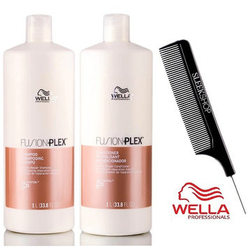 Wella FUSION PLEX Intense Repair Shampoo & Conditioner DUO SET (with Sleek Steel Pin Tail Comb)