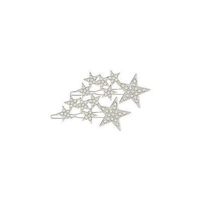 Scunci Silver Star Hair Clips w/ Rhinestones