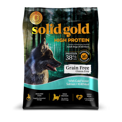 Solid Gold High Protein Grain and Gluten Free Dry Dog Food, Salmon and Krill Meal, 22 lbs