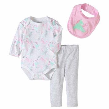 born Baby Girl Bodysuit, Bib & Turn-me-Round Pant, 3pc Set