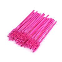 Ujuuu 1 Pack of 50 Pcs Disposable Eyelash Brush, Mascara Wands Set Cosmetic Brush Kit (Color:Rose Red)