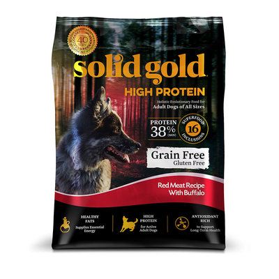 Solid Gold High Protein Grain and Gluten Free Dry Dog Food, Red Meat and Buffalo Recipe