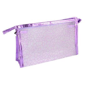 Travel Light Purple Faux Leather Frame Stone Block Print Cosmetic Makeup Case Bag