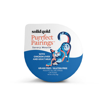 Solid Gold Purrfect Pairings Savory Mousse Grain Free Wet Cat Food, Chicken Liver and Goat Milk, 2.75 oz.