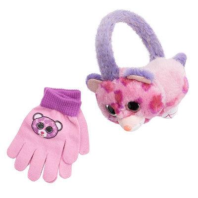 Girls 4-16 TY Beanie Boos Glamour Faux-Fur Earmuffs & Gloves Set, Girl's, Purple