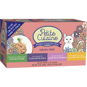 Petite Cuisine Tuna with Crab, Tuna with Sole, Tuna with Prawns, Yellow Fin Tuna Cat Food Variety Pack, 3 oz, 4 pack