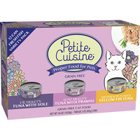Petite Cuisine Yellow Fin Tuna, Tuna with Sole & Tuna with Prawns Gourmet Canned Cat Food Variety Pack, 3 oz, 12 pack