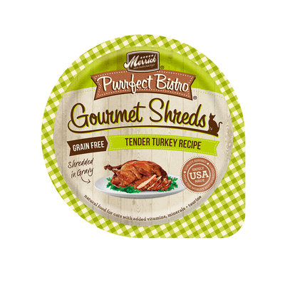 Merrick Purrfect Bistro Gourmet Shreds Tender Turkey Recipe Wet Cat Food, 3.5 oz.