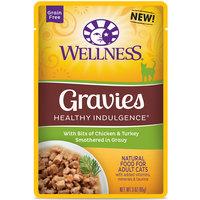 Wellness Healthy Indulgence Natural Grain Free Wet Cat Food, Gravies with Chicken & Turkey in Gravy, 3 oz.