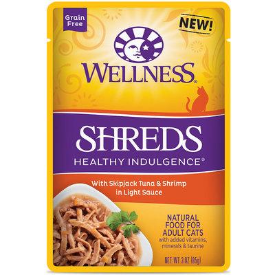 Wellness Healthy Indulgence Natural Grain Free Wet Cat Food, Shreds with Tuna & Shrimp in Light Sauce, 3 oz.