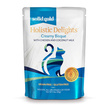 Solid Gold Holistic Delights Creamy Bisque Grain Free Wet Cat Food, Chicken and Coconut Milk, 3 oz.
