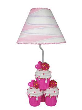 Zeckos Adorable Hot Pink Strawberry Cupcake Table Lamp