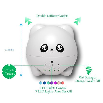 Cute Animals(Panda) Aromatherapy Ultrasonic Diffuser-Portable Essential Oil Diffuser with 7 Color LED Lights-Waterless Auto-shut Function for Home &...