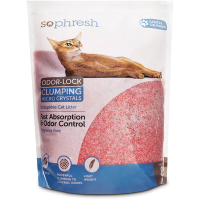 So Phresh Scoopable Odor-Lock Clumping Micro Crystal Cat Litter in Pink Silica, 8 LB